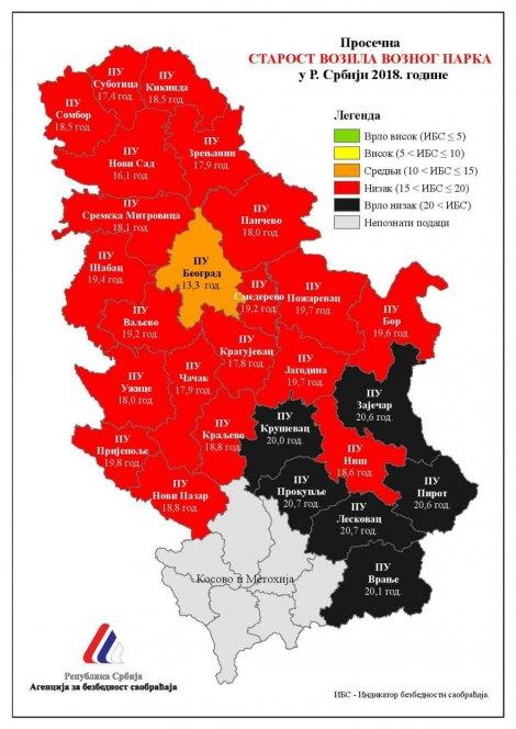 Crveno Mapa Prosecne Starosti Automobila U Srbiji Mojauto